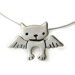 Sterling Silver Angel Kitty Charm Necklace