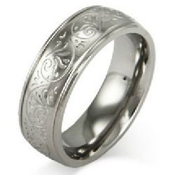Men's Stainless Steel Carved Design Ring