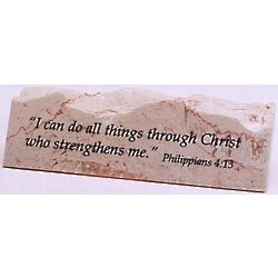 Philippians 4:13 Jerusalem Stone Paperweight