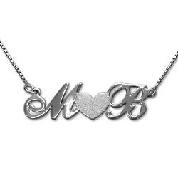 Personalized Silver Couples Necklace with Sparkling Heart