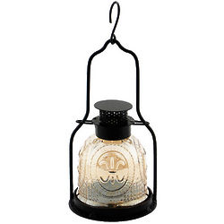 Small Apricot Ice Iron and Glass Lantern