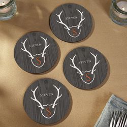 Trophy Antlers Custom Wooden Coasters