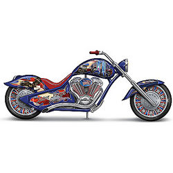 Never Forget Patriotic Motorcycle Figurine