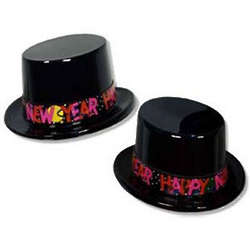 Black Plastic New Year Top Hat