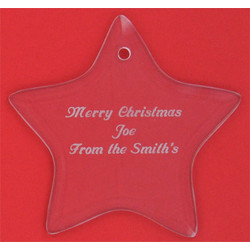Personalized Glass Star Christmas Ornament