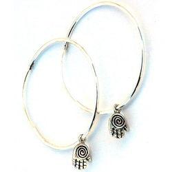 Round Silver Hoop Earrings & Hamsa Hands