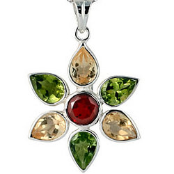 Multi Gemstone Pendant in Sterling Silver