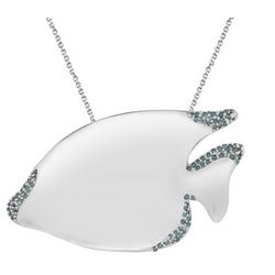 Blue Diamond Fish Pendant in Silver
