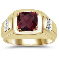 Checkercut Men's Garnet & Diamond Ring
