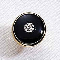 14k Yellow Gold Round Black Onyx and Diamond Tie Pin