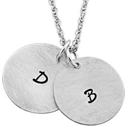 Sterling Silver Couple's Engraved Initial Discs Pendant