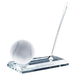Crystal Baseball Pen Set Award