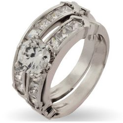 Channel Set CZ Engagement Ring Set