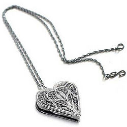 Filigree Heart Silver Locket Necklace