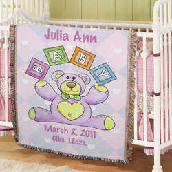 Personalized Baby Girl Teddy Bear Blanket