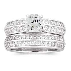 Sterling Silver Cubic Zirconia 2 Piece Wedding Ring Set