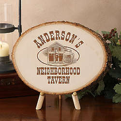 Old Time Tavern Personalized Basswood Tree Plaque