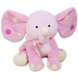 Embroidered Pink Polka Dot Elephant Stuffed Animal