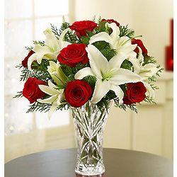 Holiday Arrangement in Crystal Vase