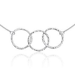 Hammered Circle Trio Necklace in Sterling Silver