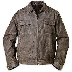 Land of the Free Men's Distressed Brown Leather Jacket