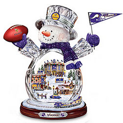 Minnesota Vikings Crystal Snowman with Moving Train
