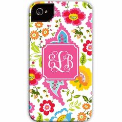 Monogrammed Bright Floral Cell Phone Case