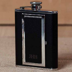 Engraved Black Leather Flask with Cigarette Storage