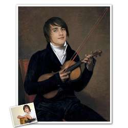 Classic Painting Young Man with a Violin Personalized Art Print