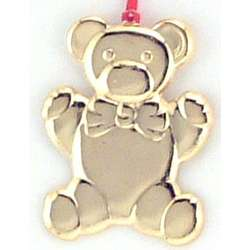 Engravable Gold Tone Finish Teddy Bear Oranment