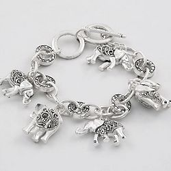 Good Luck Marcasite Elephant Bracelet