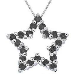 1/2 Carat Black Diamond Star Pendant in White Gold