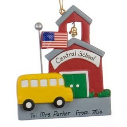 School with School Bus Personalized Christmas Ornament