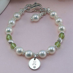 Freshwater Cultured Pearl Bracelet with Engravable Diamond Charm