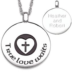 Sterling Silver True Love Waits Engraved Purity Couple's Pendant