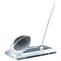 Crystal Football Pen Set Award