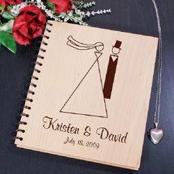 Bride and Groom Wood Photo Album