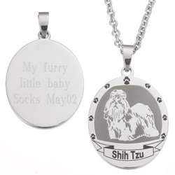 Stainless Steel Shih Tzu Dog Breed Pendant