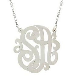 Small Sterling Silver Two Initials Monogram Necklace