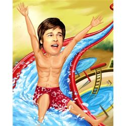 Waterslide Fun Caricature Art Print