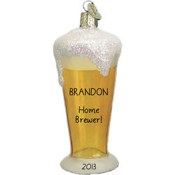 Home Brewer Glass of Beer Personalized Ornament