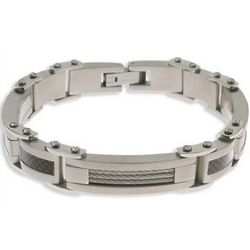 Men's Carbon Fiber and Cable Stainless Steel Bracelet