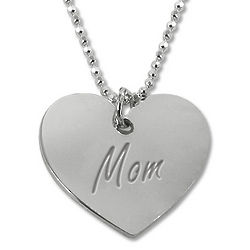 Engraved Mother's Heart Silver Necklace