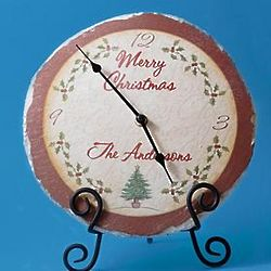Personalized Christmas Slate Clock