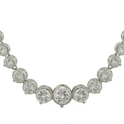 Tiffany Inspired Sparkling Graduated Bezel Cubic Zironia Necklace