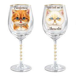 Wine Glasses with Kayomi Harai Cat Art