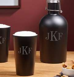 Personalized Monogram Classic Steel Beer Growler and Pint Glasses