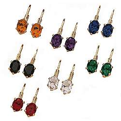 7 Pairs of Color Crystal Latchback Earrings