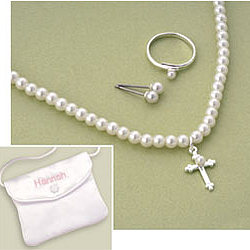 Pearl Cross Jewelry Set