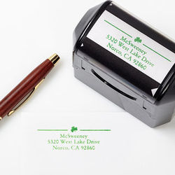 Personalized Return Address Self-Inking Stamper Irish Shamrock
